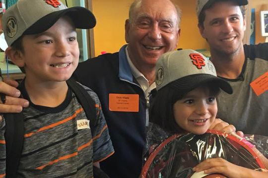 Posey cheers up young cancer patients